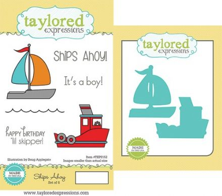 TEPS152 ~ SHIP AHOY - SET OF 6 Stamps with coordinating diES by Taylored Expressions